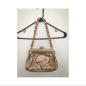 Coach Rose Gold Purse with Chain Link Strap